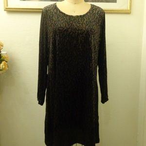 Vintage Studio Leopard Print Long Sleeve Dress